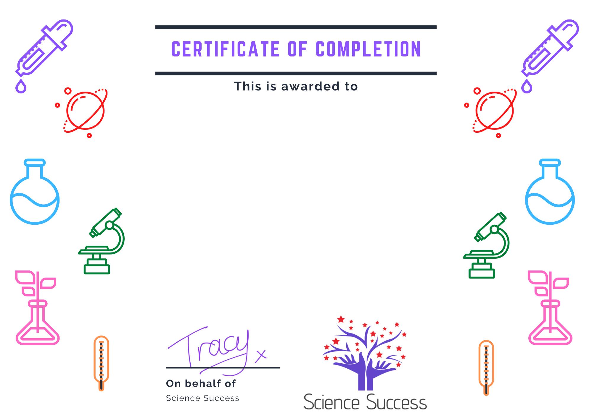 Science Success Club Certificate centred final